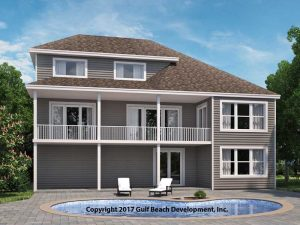 Grand Island Coastal House Plan Rear