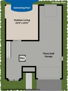 Sunset Bay Coastal House Plan 1st floor