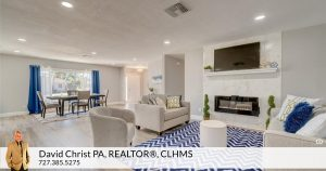 living room and dining room in remodeled home in st. petersburg, FL in Causeway Isles.
